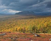 Scenic view over autumn mountain landscape, Kungsleden trail, Lapland, Sweden
