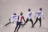OLYMPIC GAMES: PYEONGCHANG: 17-02-2018, Gangneung Ice Arena, Short Track, Quarterfinals 1000m Men, Hwang Dae Heon (KOR), Lim Hyo Jun (KOR), Thibaut Fauconnet (FRA), Seo Yi Ra (KOR), ©photo Martin de Jong