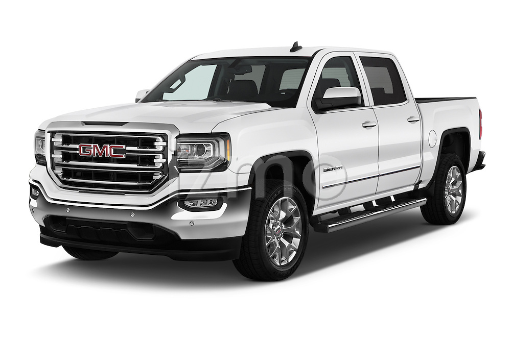 2017 GMC Sierra-1500 Crew-Cab-Short-Box-SLT 4 Door Pickup Angular Front stock photos of front three quarter view