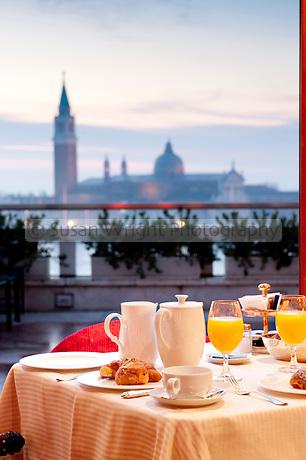 Breakfast at \'Terrazza Danieli\' of the Hotel Danieli, with a magical ...