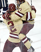Brian Dumoulin (BC - 2), Johnny Gaudreau (BC - 13) - The Boston College Eagles defeated the visiting University of New Hampshire Wildcats 4-3 on Friday, January 27, 2012, in the first game of a back-to-back home and home at Kelley Rink/Conte Forum in Chestnut Hill, Massachusetts.