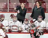 Serena Sommerfield (BC - 3), Grace Bizal (BC - 2), Katie Crowley (BC - Head Coach), Lexi Bender (BC - 21), Denisa Krizova (NU - 41), Courtney Kennedy (BC - Associate Head Coach), Kali Flanagan (BC - 10) - The Boston College Eagles defeated the Northeastern University Huskies 5-1 (EN) in their NCAA Quarterfinal on Saturday, March 12, 2016, at Kelley Rink in Conte Forum in Boston, Massachusetts.