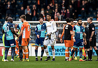 Goalkeeper Jamal Blackman of Wycombe Wanderers (on loan from Chelsea) receives a thank you from captain Joe Jacobson of Wycombe Wanderers during the Sky Bet League 2 match between Wycombe Wanderers and Blackpool at Adams Park, High Wycombe, England on the 11th March 2017. Photo by Liam McAvoy.
