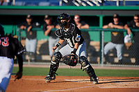 West Virginia Black Bears catcher Kyle Wilkie (10) waits for a throw during a NY-Penn League game against the Batavia Muckdogs on June 27, 2019 at Dwyer Stadium in Batavia, New York.  West Virginia defeated Batavia 6-5 in ten innings.  (Mike Janes/Four Seam Images)