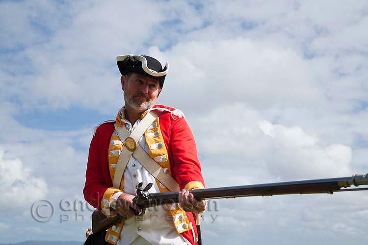 British soldier during re-enactment of Captain Cook's landing - part of the annual Cooktown Discovery Festival.  Cooktown, Queensland, Australia