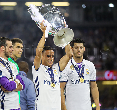 June 3rd 2017, National Stadium of Wales , Wales; UEFA Champions League Final, Juventus FC versus Real Madrid; Lucas Vazquez of Real Madrid celebrates with the trophy at the end of the match
