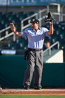 Umpire Grant Conrad calls time during a game between the Palm Beach Cardinals and Jupiter Hammerheads on August 13, 2016 at Roger Dean Stadium in Jupiter, Florida.  Jupiter defeated Palm Beach 6-2.  (Mike Janes/Four Seam Images)