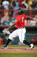 Erie SeaWolves left fielder Christin Stewart (17) at bat during a game against the Richmond Flying Squirrels on August 22, 2016 at Jerry Uht Park in Erie, Pennsylvania.  Erie defeated Richmond 4-2.  (Mike Janes/Four Seam Images)