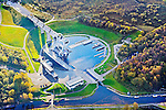 The Falkirk Wheel, The world's only rotating boat lift connects the Forth and Clyde Canal with the Union Canal, Scotland    Photographed for Scottish Canals