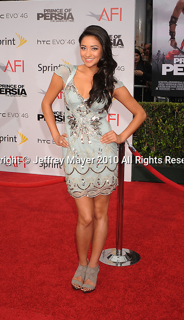 "HOLLYWOOD, CA. - May 17: Shay Mitchell arrives at the ""Prince of Persia: The Sands of Time"" Los Angeles Premiere held at Grauman's Chinese Theatre on May 17, 2010 in Hollywood, California."