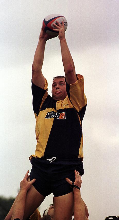 Photo. Richard Lane. .Rugby v Bristol. 19/9/98. Neil Watkins wins a clean line-out for Bristol.