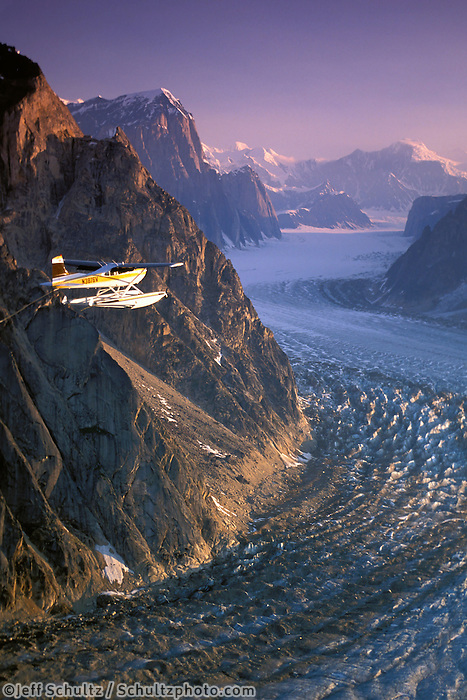 Cessna 185 Float Plane Ruth Gorge Alaska Range Int Ak Pr Summer Aerial