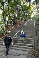 Hikers on the slope of Mount Takao.