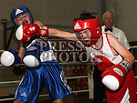 Jack Kelly, St. Cianan's Boxing Club (Red) and Darragh Connolly, Rathfriland Boxing Club (Blue) at the Boxing Championships at St. Cianan's Boxing Club, Duleek.<br /> <br /> Photo: Jenny Matthews