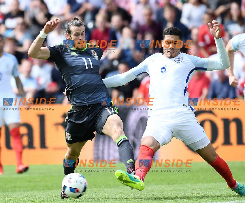 Gareth Bale Wales, Chris Smalling England <br /> Lens 16-06-2016 Stade Bollaert-Delelis Footballl Euro2016 England - Wales / Inghilterra - Galles Group Stage Group B. Foto Matteo Gribaudi / Image Sport / Insidefoto