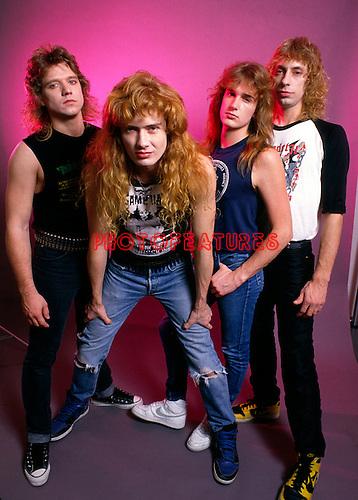 Megadeth 1986 Chris Poland, Dave Mustaine,  David Ellefson and Gar Samuelson.© Chris Walter