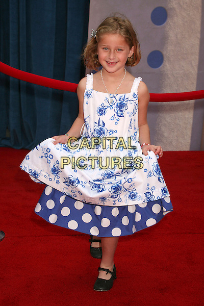"MIKAILA BAUMEL .""Meet The Robinsons"" Los Angeles Premiere at the El Capitan Theatre, Hollywood, California, USA..March 25th, 2007.full length blue white dress floral print .CAP/ADM/BP.©Byron Purvis/AdMedia/Capital Pictures"