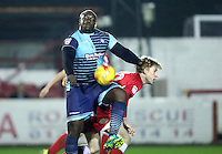 Adebayo Akinfenwa of Wycombe Wanderers beats Harvey Rodgers of Accrington Stanley to the ball <br /> during the Sky Bet League 2 match between Accrington Stanley and Wycombe Wanderers at the wham stadium, Accrington, England on 28 February 2017. Photo by Tony  KIPAX.
