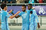Jiangsu FC Forward Alex Teixeira (C) celebrating his score with Ramires Santos (R) and Xie Pengfei (L) during the AFC Champions League 2017 Group H match between Jiangsu FC (CHN) vs Adelaide United (AUS) at the Nanjing Olympics Sports Center on 01 March 2017 in Nanjing, China. Photo by Marcio Rodrigo Machado / Power Sport Images