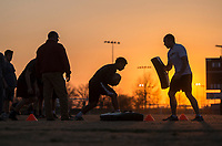 NWA Democrat-Gazette/ANTHONY REYES @NWATONYR<br /> Kids 13 years-old and up go through rugby drills Wednesday March 8, 2017 at the Tyson Sports Complex. Youth rugby teams have been put together through Springdale Parks and Recreation.