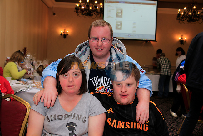 Niamh Kiernan, Jason Kierans Richard Leonard<br /> at the coffee morning in the West Court Hotel for the Special Olympics.<br /> Picture Fran Caffrey www.golffile.ie