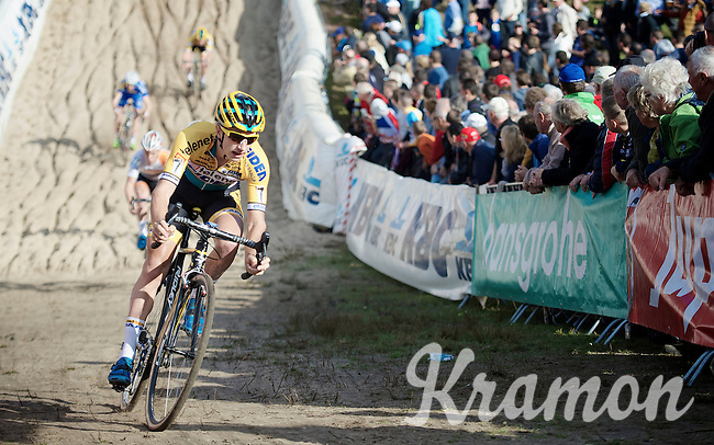 """Quinten Hermans (BEL/Telenet-Fidea) is the first to descend into """"The Pit"""" in the U23 race<br /> <br /> GP Zonhoven 2014"""