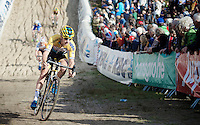 Quinten Hermans (BEL/Telenet-Fidea) is the first to descend into &quot;The Pit&quot; in the U23 race<br /> <br /> GP Zonhoven 2014