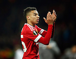 Jesse Lingard of Manchester United applauds the fans during the UEFA Europa League match at Old Trafford. Photo credit should read: Philip Oldham/Sportimage