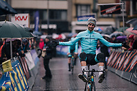 Laurens de Vreese (BEL/Astana) in an entertaining mood on his way back from sign-on<br /> <br /> 73rd Dwars Door Vlaanderen 2018 (1.UWT)<br /> Roeselare - Waregem (BEL): 180km
