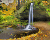 A photographic based fine art image of Sam's Falls, Upper Peninsula, Michigan