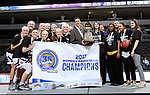 SIOUX FALLS, SD: MARCH 7: The Western Illinois Leathernecks celebrate their Women's Summit League Basketball Championship on March 7, 2017 at the Denny Sanford Premier Center in Sioux Falls, SD. (Photo by Dave Eggen/Inertia)