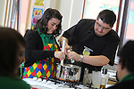 Careers Wales.Chef Massimo Bishop-Scotti with Katie Wythers giving pupils at Mountain Ash Comprehensive School a cookery demonstration...07.03.12.©STEVE POPE