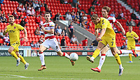 Fleetwood Town's Harry Souttar spurns a great chance to score<br /> <br /> Photographer David Shipman/CameraSport<br /> <br /> The EFL Sky Bet League One - Doncaster Rovers v Fleetwood Town - Saturday 17th August 2019  - Keepmoat Stadium - Doncaster<br /> <br /> World Copyright © 2019 CameraSport. All rights reserved. 43 Linden Ave. Countesthorpe. Leicester. England. LE8 5PG - Tel: +44 (0) 116 277 4147 - admin@camerasport.com - www.camerasport.com