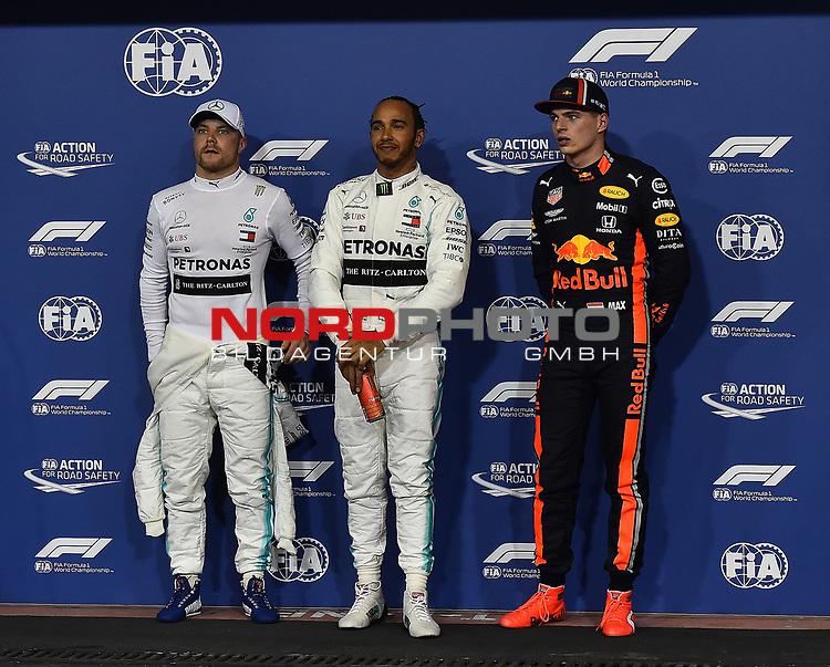 30.11.2019, Yas Marina Circuit, Abu Dhabi, FORMULA 1 ETIHAD AIRWAYS ABU DHABI GRAND PRIX 2019<br />, im Bild<br />Poleposition für Lewis Hamilton (GB#44), Mercedes-AMG Petronas Motorsport, 2.Startplatz für Valtteri Bottas (FIN#77), Mercedes-AMG Petronas Motorsport, 3.Startplatz für Max Verstappen (NEL#33), Aston Martin Red Bull Racing<br /> <br /> Foto © nordphoto / Bratic