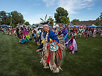 Dennis Sigalia dances during the Stewart Father's Day Pow Wow in Carson City on Friday, June 16, 2017.