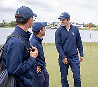 Auckland team mates celebrate winning their semi-finals. Toro Men's  Interprovincial Golf Championship, Clearwater Golf Course, Christchurch, New Zealand, Friday 30 November. photo: Martin Hunter/www.bwmedia.co.nz