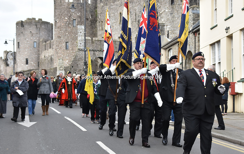 Ex servicemen parade for Remembrance Day Sunday in Pembroke, west Wales, UK. SUnday 13 November 2016