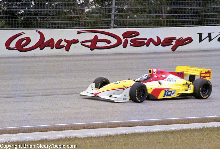 Tony Stewart  races to victory in the IRL Indy Car race at Walt Disney World Speedway, Lake Buena Vista, FL, January 24, 1998.  (Photo by Brian Cleary/www.bcpix.com)