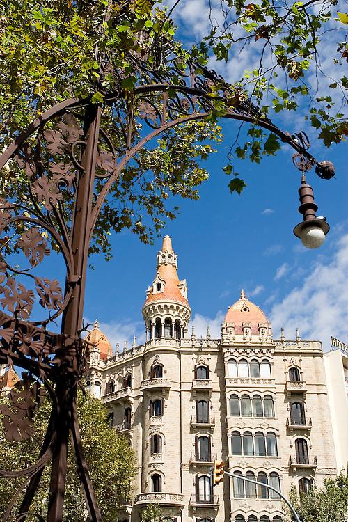 Modernist lamppost designed by Pere Falques i Urpí along Passeig de Gracia, Barcelona, Spain