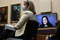United States House Education and Labor Committee   member US Representative Pramila Jayapal (Democrat of Washington) uses a video link to question witnesses during a hearing about the federal government's role in protecting workers during the coronavirus pandemic on Capitol Hill May 28, 2020 in Washington, DC. More than 62,000 health care workers have been infected with COVID-19 and close to 300 have died according to the U.S. Centers for Disease Control.<br /> Credit: Chip Somodevilla / Pool via CNP/AdMedia