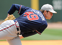 May 18, 2009: RHP Jacob Thompson (49) of the Rome Braves, the No. 27 prospect of the Atlanta Braves, in a game against the Greenville Drive at Fluor Field at the West End in Greenville, S.C. Photo by: Tom Priddy/Four Seam Images