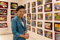 Chieko Hasegawa, Executive Vice President of the Nichido Museum of Art with the museum's palette collection, Kasama city, Ibaraki, Japan, May 10, 2013.