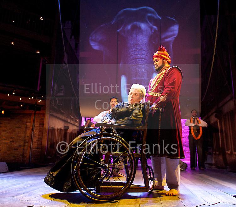 The Empress<br /> The Royal Shakespeare Company <br /> By Tanika Gupta<br /> directed by Emma Rice<br /> at The Swan Theatre, Stratford Upon Avon, Great Britain <br /> press photocall<br /> 15th April 2013 <br /> <br /> Ray Panthaki as Hari<br /> Anneika Rose as Rani Das<br /> <br /> Beatie Edney as Queen Victoria<br /> <br /> Anuka Bahl as Gandhi<br /> <br /> Vincent Ebrahim as Dadabhai Naoroji<br /> <br /> Tamzin Griffin as Lascar Sally <br /> <br /> Kristin Hutchinson as Lady Sarah <br /> <br /> Tony Jayawardena as Abdul Karim <br /> <br /> Emily Mytton as Georgina<br /> <br /> Ed Woodall as Sir John Oakham<br /> <br /> Rina Fatania as Firoza<br /> <br /> Japjit Kaur as Ayah <br /> <br /> Dominic Lawton as Lascar <br /> <br /> Aki Omoshaybi as Serang <br /> <br /> Photograph by Elliott Franks
