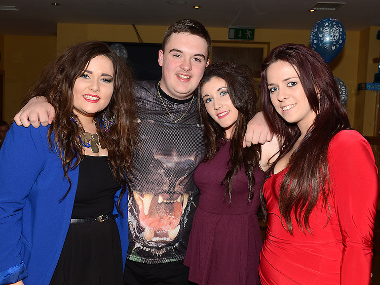 Dean Simpson celebrating his 18th birthday in the Thatch with friends Megan Bradley, Jessica Wall and Shirley McGovern. Photo:Colin Bell/pressphotos.ie