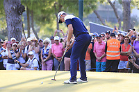 Justin Rose (ENG) takes his putt to win on the 18th green at the end of Sunday's Final Round of the 2018 Turkish Airlines Open hosted by Regnum Carya Golf &amp; Spa Resort, Antalya, Turkey. 4th November 2018.<br /> Picture: Eoin Clarke | Golffile<br /> <br /> <br /> All photos usage must carry mandatory copyright credit (&copy; Golffile | Eoin Clarke)