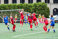 Boston, MA - Saturday July 01, 2017: Shelina Zadorsky, Natasha Dowie, Kristie Mewis and Whitney Church during a regular season National Women's Soccer League (NWSL) match between the Boston Breakers and the Washington Spirit at Jordan Field.
