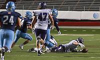 Arkansas Democrat-Gazette/MELISSA SUE GERRITS - 12/05/15 -  Fayetteville's Luke Waller recovers a fumble from quarter back Har-Ber's Fuller Chandler during their 7A Championship game December 5, 2015 at War Memorial Stadium in Little Rock.