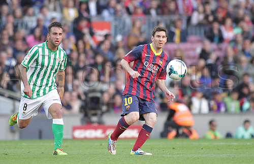 05.04.2014  Barcelona, Spain. Messi in action during the spanish league match between FC. Barcelona and Real Betis at Nou Camp stadium