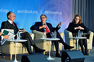 "Washington, DC - April 21, 2018: Microsoft founder Bill Gates, center, World bank President Jim Yong Kim and U.K. Secretary of State for International Development Penny Mordaunt participate in a panel discussion on ""Building Human Capital"" at the World Bank Group in Washington, DC April 21, 2018, as part of the IMF/World bank Spring Meetings.  (Photo by Don Baxter/Media Images International)"