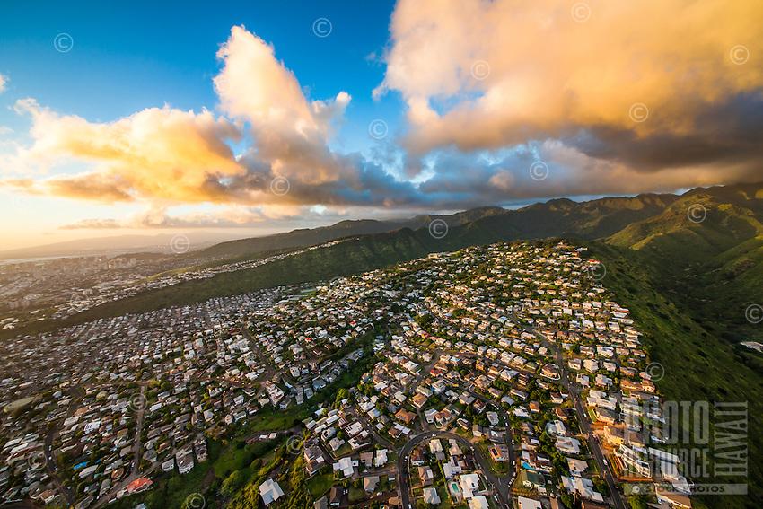 An aerial view of Maunalani Heights, part of (or next to) the Kaimuki neighborhood, Honolulu, O'ahu.